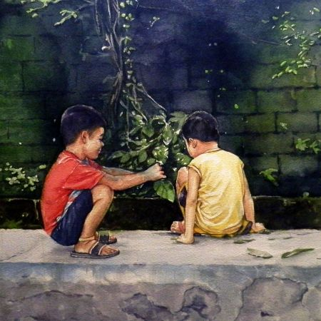libangan / Pastime, 21 x 29 inches, sold